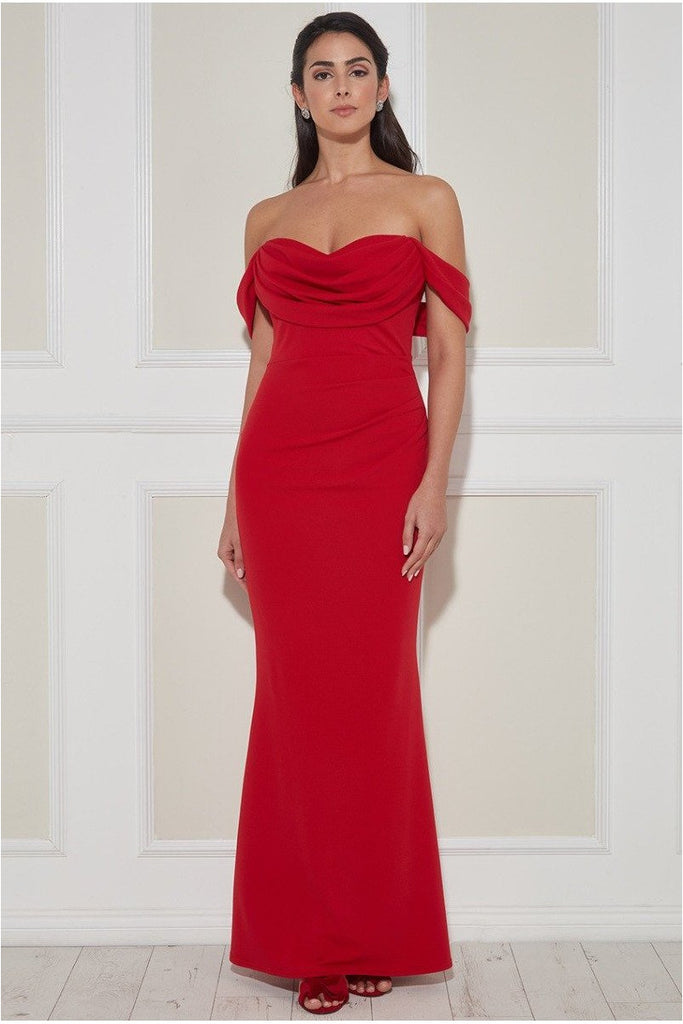 Goddiva Cowl Neck Off the Shoulder Maxi Dress - Red
