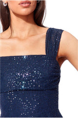 Goddiva One Shoulder Bardot Sequin & Mesh Maxi Dress - Navy