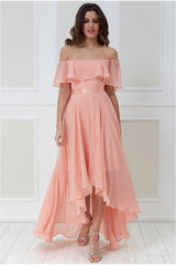 Goddiva Chiffon Bardot High Low Dress - Peach