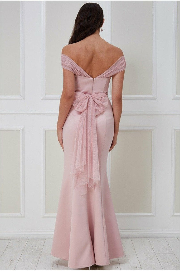 Goddiva Boobtube Tulle Neck Maxi Dress - Blush