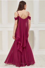 Goddiva Off the Shoulder Wing Back Maxi Dress - Berry