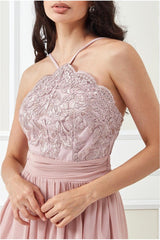 Goddiva Lace Halter Neck Chiffon Skirt Dress - Blush