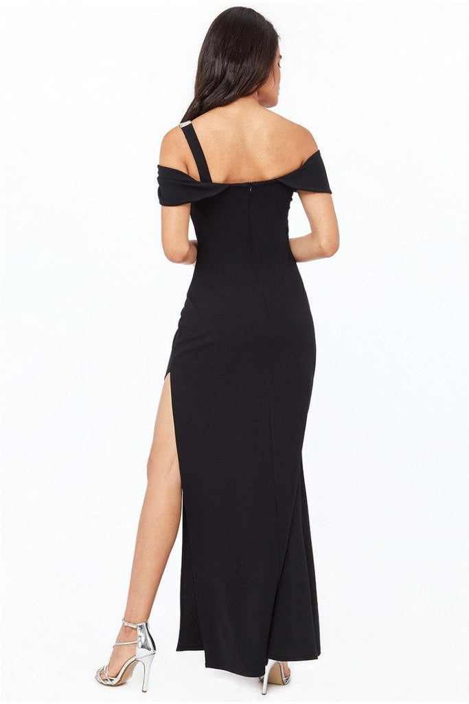 Goddiva Diamante Belt Trim One Shoulder Maxi Dress - Black