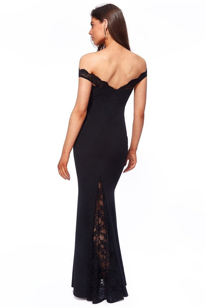 Goddiva Scallop Bardot with Lace Inserts Maxi Dress - Black