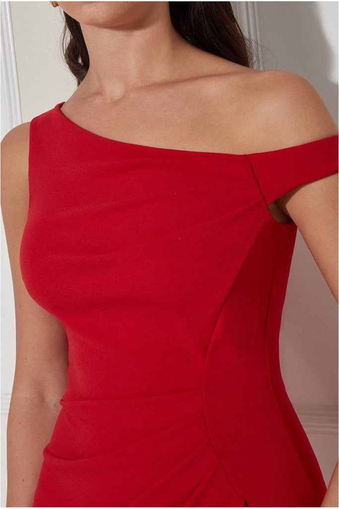 Goddiva One Shoulder Pleated Maxi Dress - Red