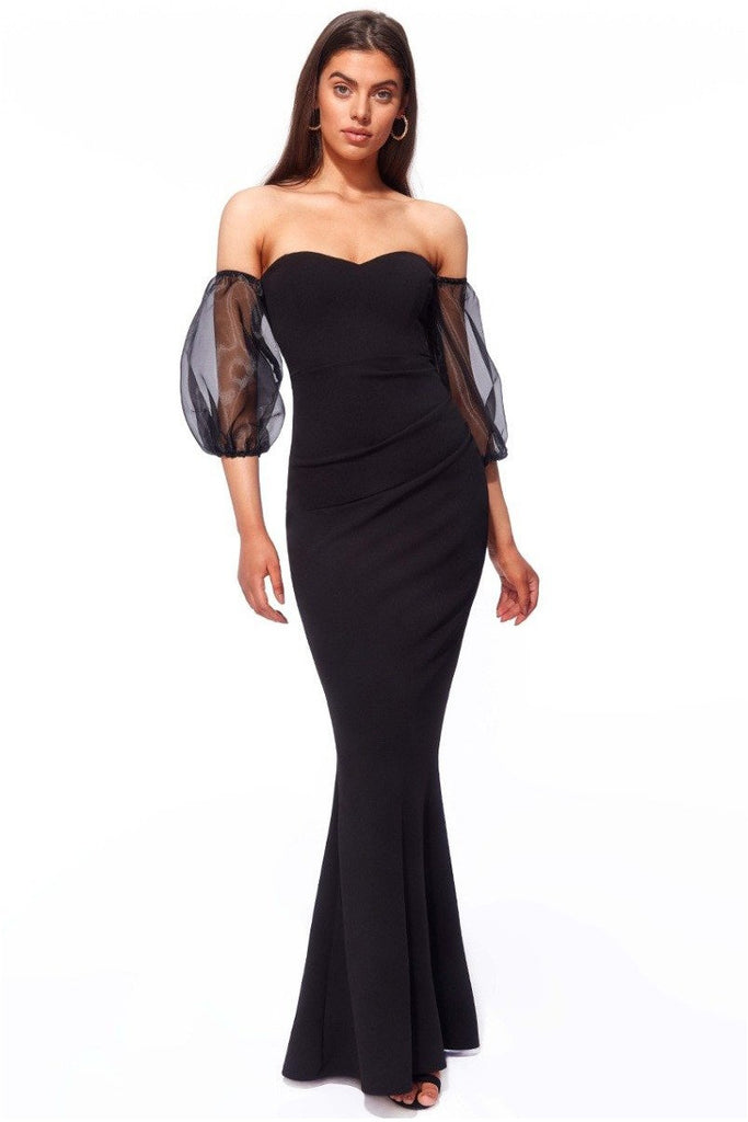 Goddiva Organza Puffed Sleeve Off the Shoulder Maxi Dress - Black