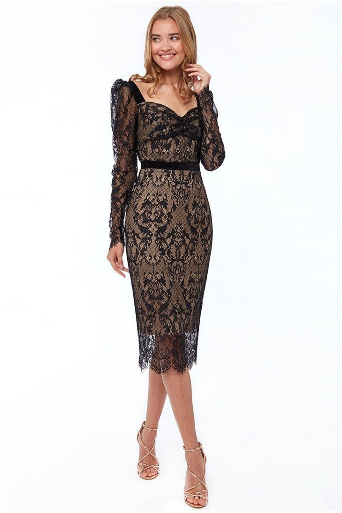 Goddiva Woven Eyelash Lace Midi Dress - Black