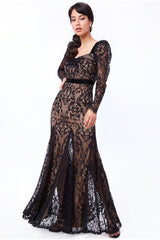 Goddiva Woven Eyelash Lace Maxi Dress - Black
