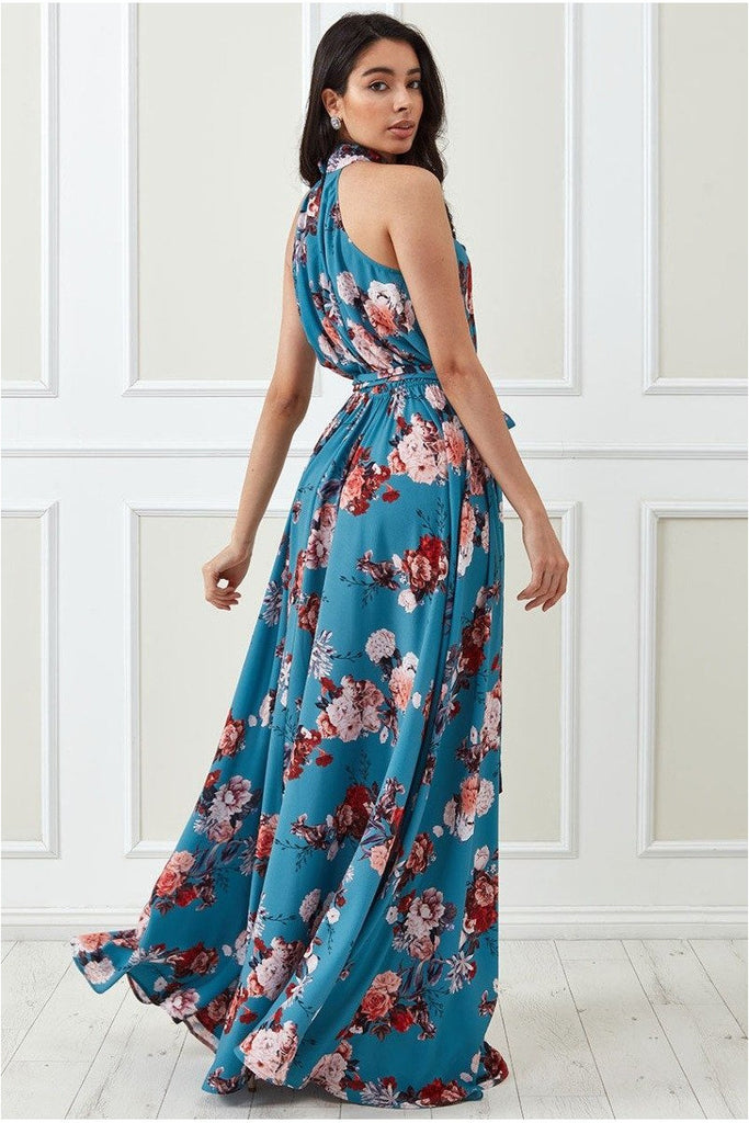 Goddiva High Collar Halter Printed Maxi Dress - Tealfloral