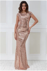 Open Back Sequin Maxi Dress - Champagne