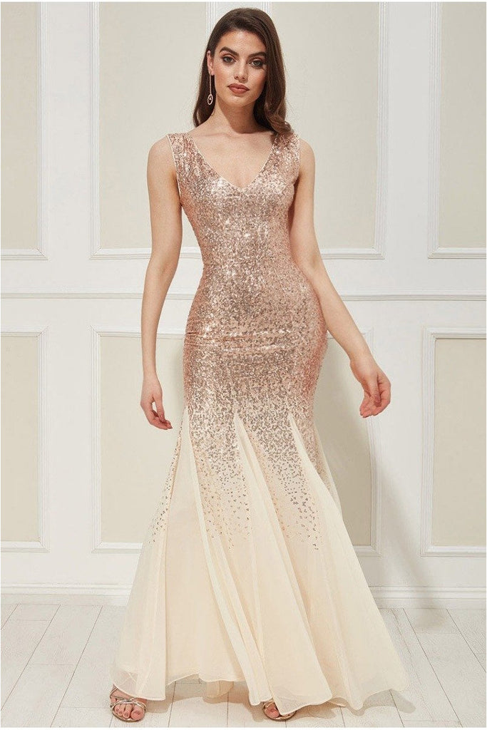 Sequin and Chiffon Maxi Dress - Champagne