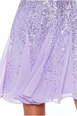 Sequin & Chiffon Mini Dress - Lavender