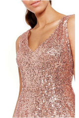 Sequin & Chiffon Mini Dress - Peach