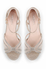 Paradox London Etta - Champagne Glitter Wide Fit Low Heel Ankle Strap Sandals