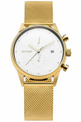 Tayroc Gold & White Mens Chronograph Watch
