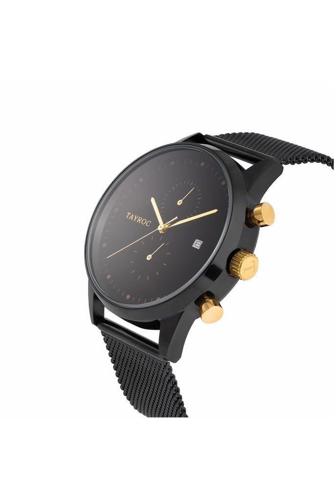 Tayroc Black And Gold Mens Watch