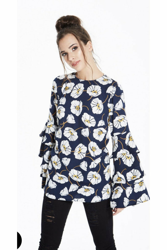 Madam Rage Floral tiered bell sleeve top