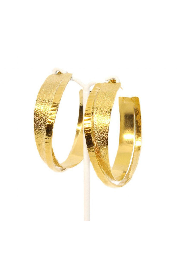 Dora Georgiou Three Texture Gold Earrings
