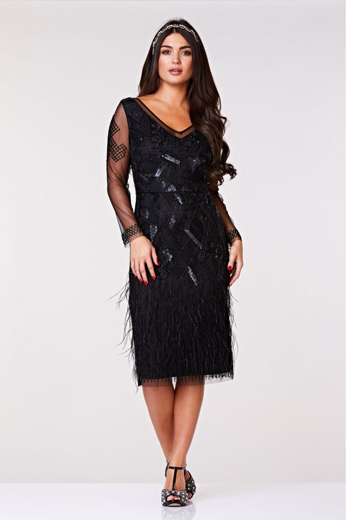 Ivy Midi Feather Dress - Hand Embellished Gatsbylady London