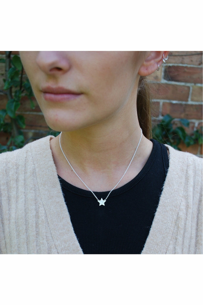 White Leaf Crystal star necklace in silver