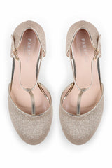 Flamenco - Champagne Glitter High Heel T-bar Shoes Paradox London