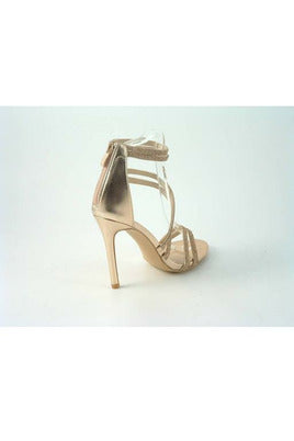 Glitz Shoes Divine Doubled Strap Diamante Sandals