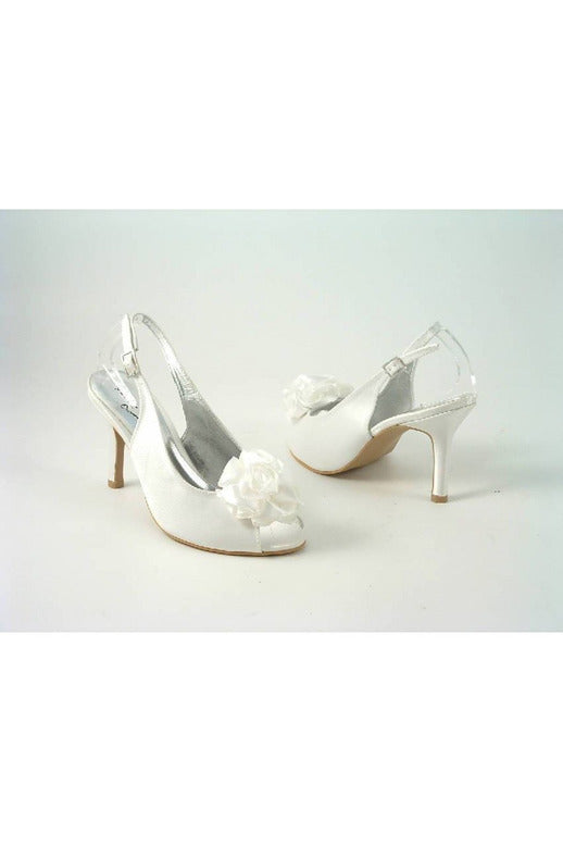 Occasions Ivory Satin Peep Toe Slingback Glitz Shoes