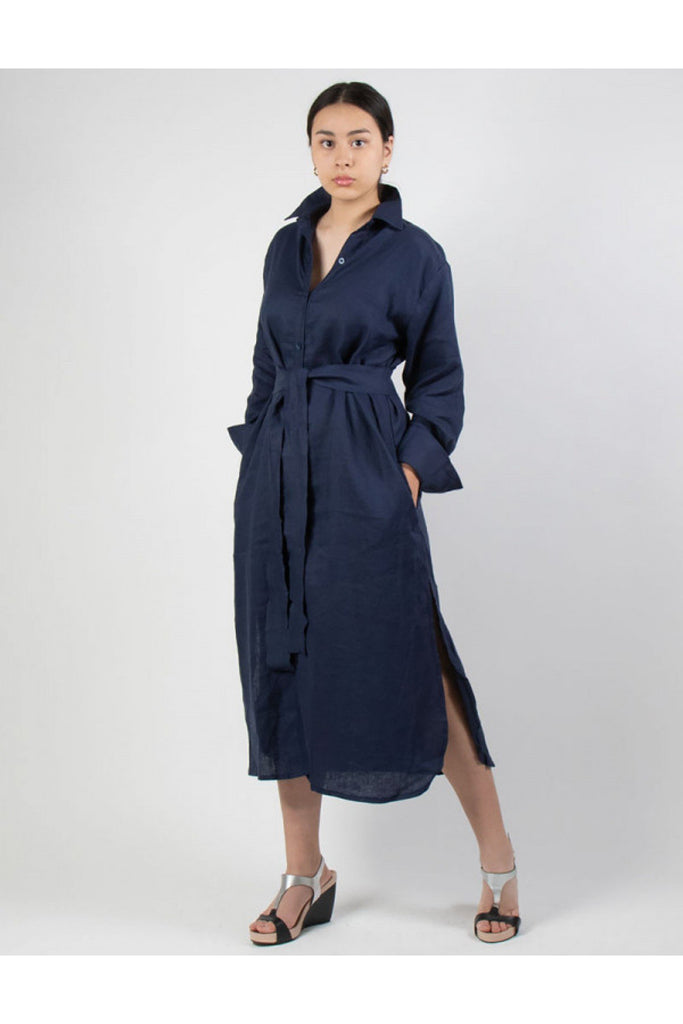 Button Down Linen Shirt Dress Navy