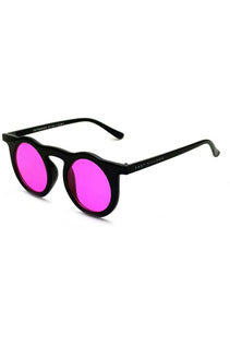 East Village 'Haymaker' Round Sunglasses Black With Pink Lens
