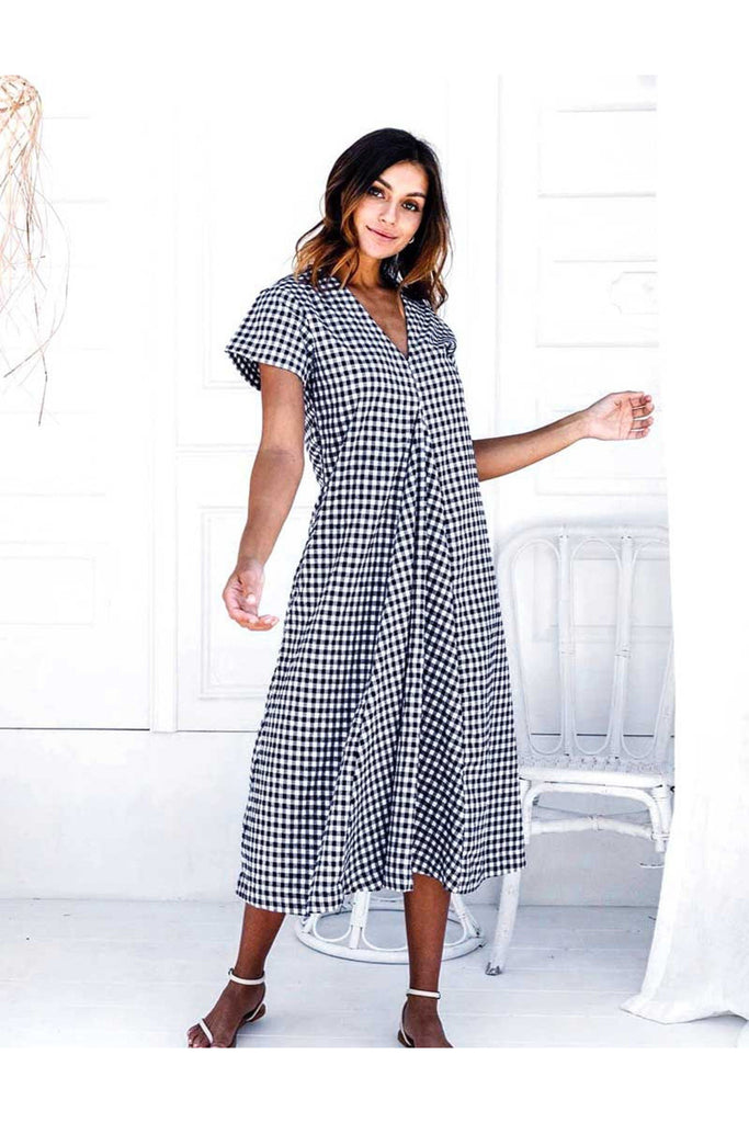 Lulu Navy Gingham Dress Cotton Bleue