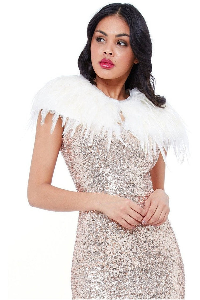 Faux Feather Cape - Ivory
