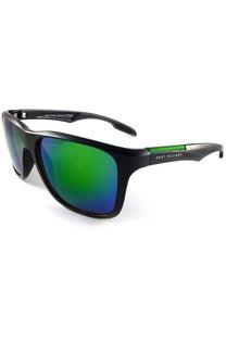 East Village Sporty 'Putney' Square Black Sunglasses with Green Revo Lens