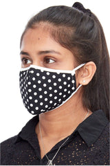 Goddiva Polka-dot Cotton Face Mask - Black Polkadot