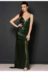 "Revie London Emerald Sequin Maxi Dress ""Jayne"""