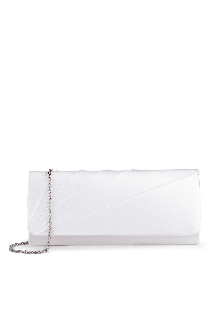 Paradox London Ivory Satin 'Posie' Clutch Handbag