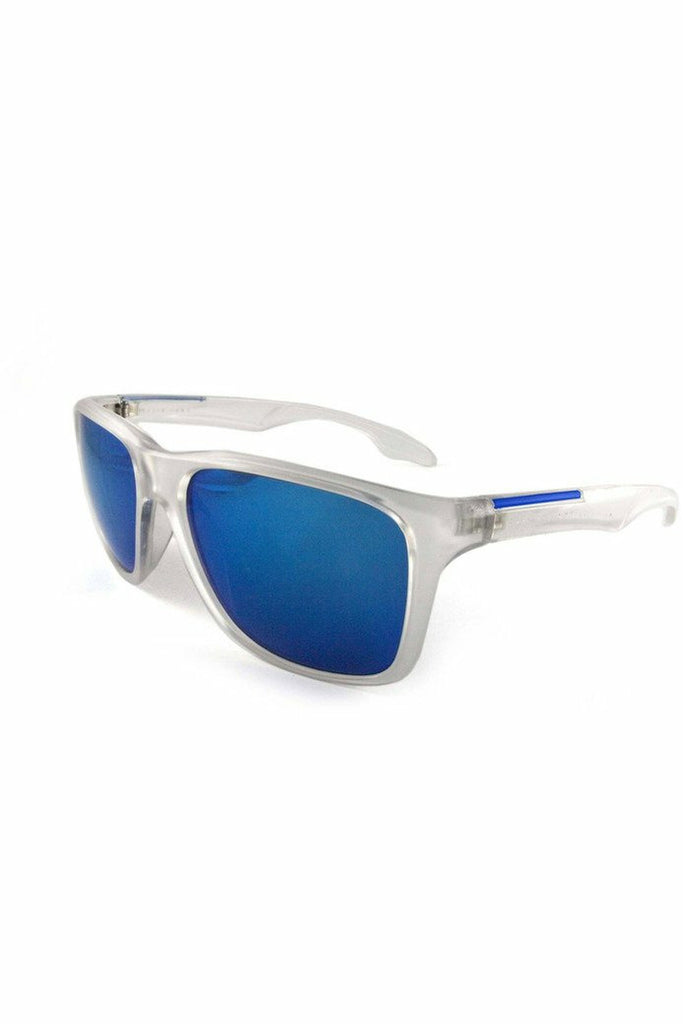 East Village Sporty 'Putney' Square Clear Sunglasses with Blue Mirror Lens