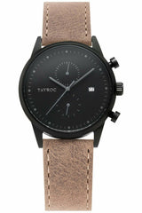 Tayroc Matte Black Watch With Brown Leather Strap