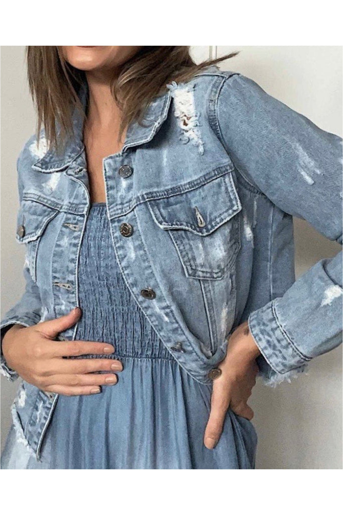 Saint A DISTRESSED DENIM JACKET