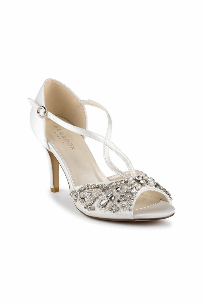 Elin - Ivory Satin High Heel Peep Toe Sandals Paradox London