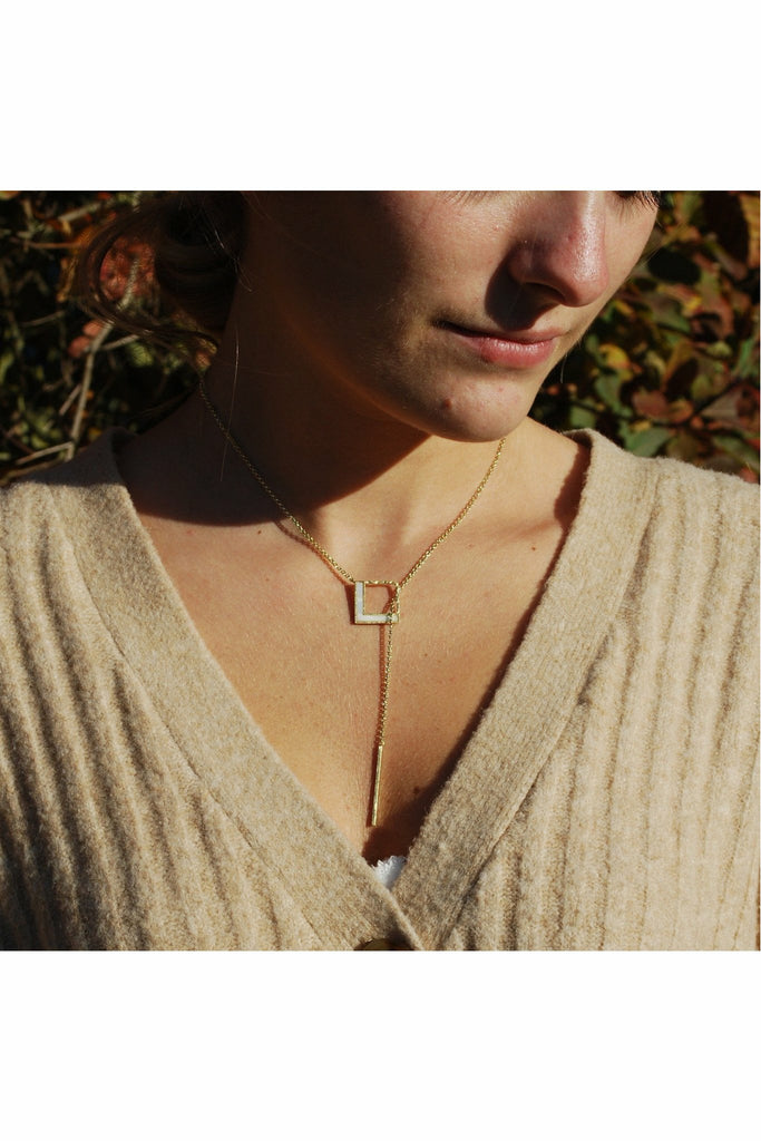 White Leaf Geometric square lariat necklace  in gold