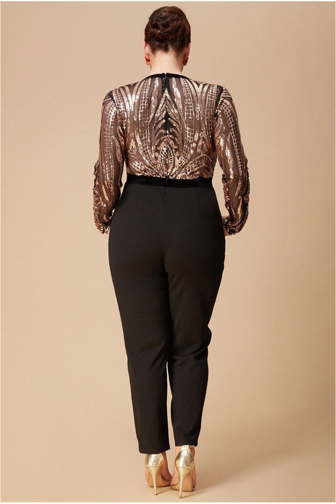 Goddiva Plus Deep V Neck Sequin Jumpsuit - Champagne