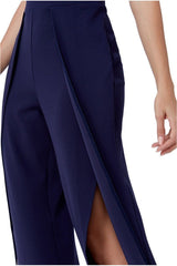 Goddiva Open Back Flared Leg Jumpsuit - Navy