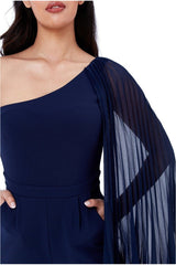 Goddiva Chiffon Sleeve One Shoulder Jumpsuit - Navy