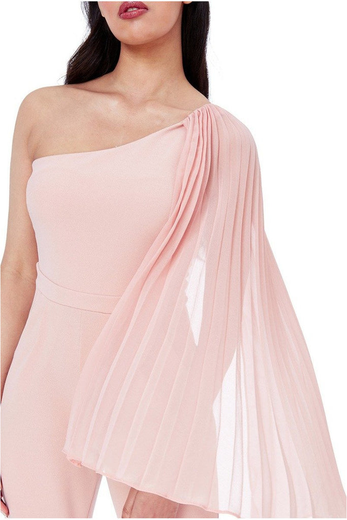 Goddiva Chiffon Sleeve One Shoulder Jumpsuit - Nude