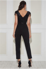 Goddiva Sequin Fringe Detail Jumpsuit - Black
