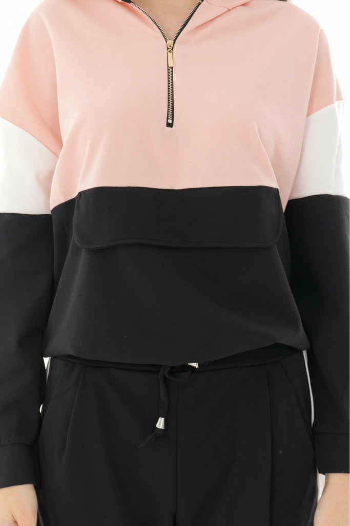Aimelia Apparel Lightweight 2 piece TrackSuit - Black- Pink