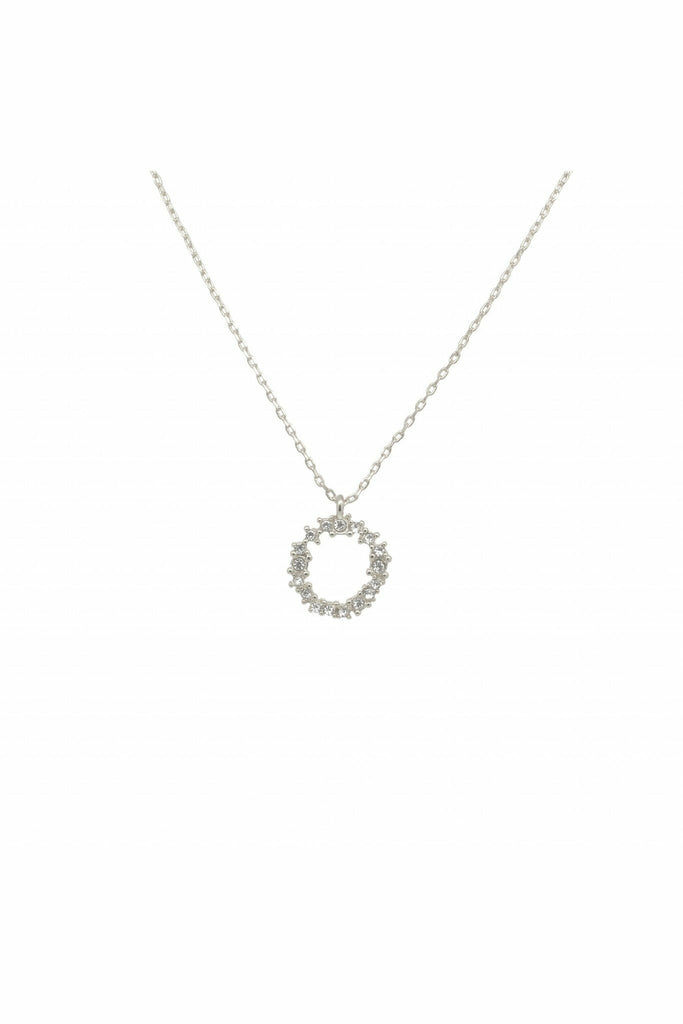 Last True Angel Crystal cluster circle necklace in silver