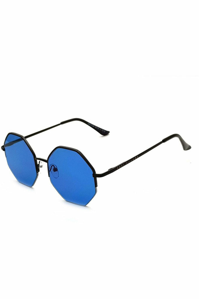 East Village 'Hector' Hex Black With Blue Lens