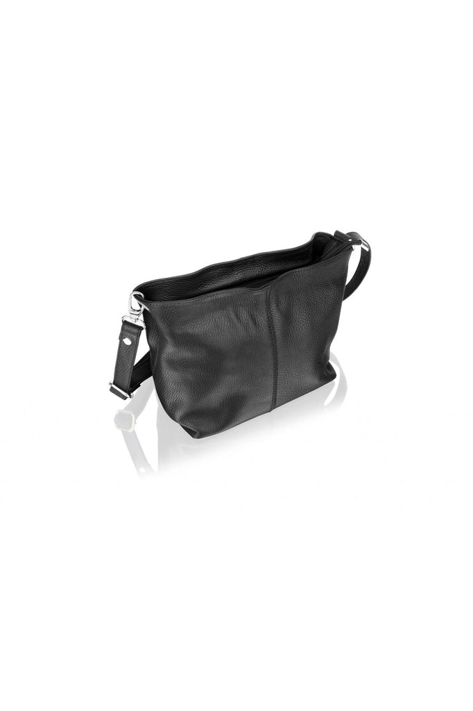 "Woodland Leather Black Shoulder Bag 8.0"" Adjustable Shoulder Strap Woodland Leathers"