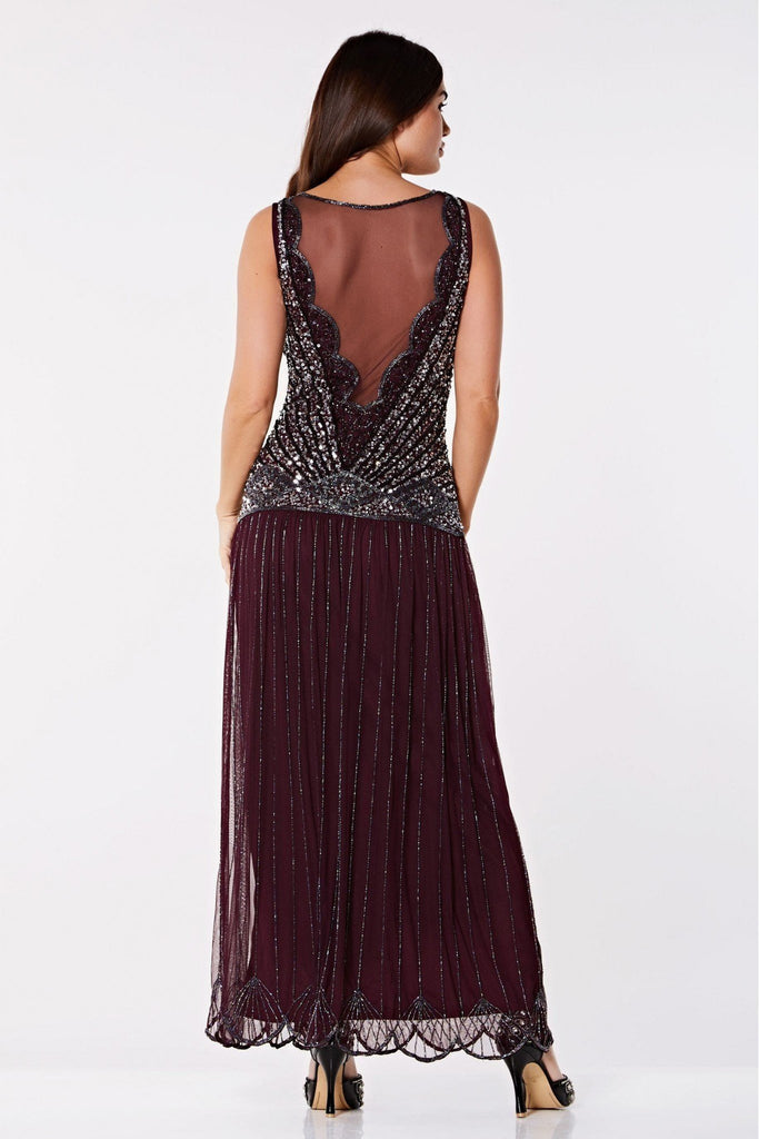 Elaina Drop Waist Flapper Maxi Dress-Plum Gatsbylady London